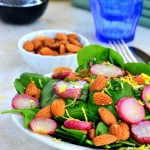 Roasted Radish, Spinach and Almond Salad with Balsamic Coconut Vinaigrette 6