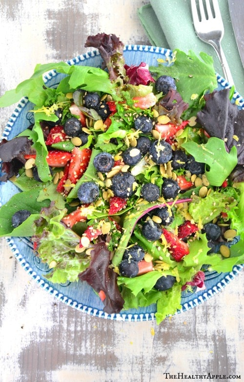 Blueberry Salad with Coconut Cilantro Dressing Recipe