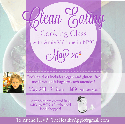 May 20th Amie Valpone NYC Vegan Gluten-Free Cooking Class Dinner Party