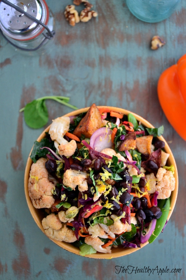 celiac-roasted-cauliflower-and-black-bean-buddha-bowl-with-basil-lemon-dressing