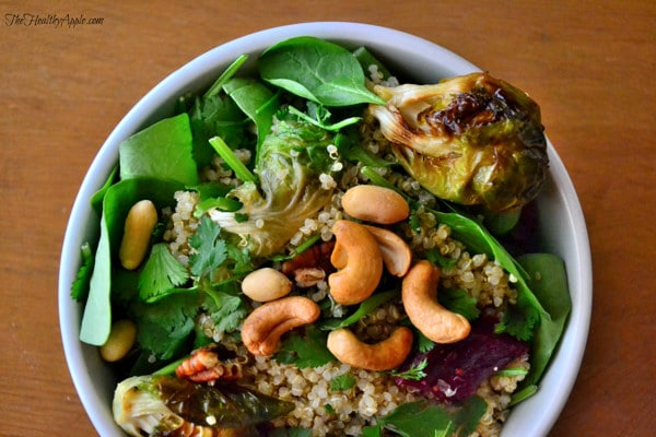 Roasted Brussels Sprout and Cashew Quinoa Salad {Gluten-Free, Dairy ...