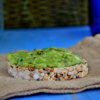 guacamole on rice cake..