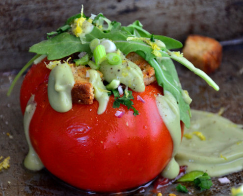 Garden Herb Stuffed Tomatoes with 'Creamy' Avocado Drizzle-Vegan