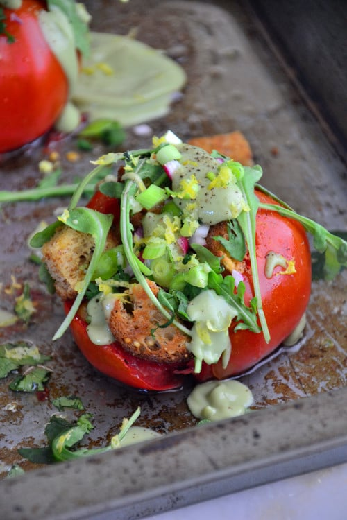 Garden Herb Stuffed Tomatoes with 'Creamy' Avocado Drizzle