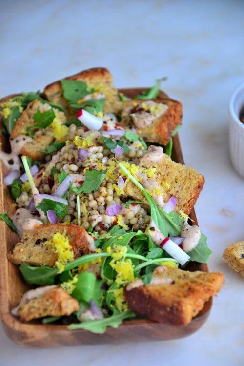Simple Sorghum Arugula Salad with Gluten-Free Rye Croutons-Vegan-Dairy-Free