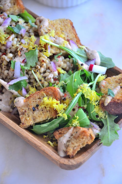 Simple Sorghum Arugula Salad with Gluten-Free Rye Croutons-Vegan