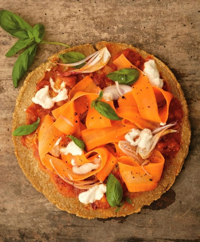 Blissful Quinoa Pizza Crust with Carrot Ribbons and Shallots {from my New Cookbook, Eating Clean}