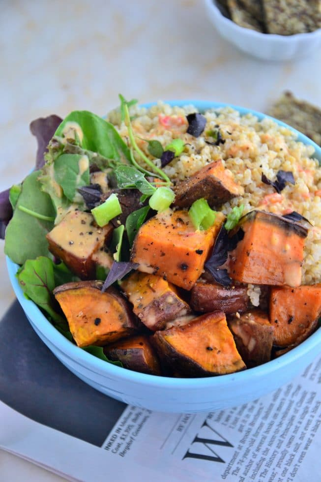 Healthy-Sweet-Potato-Quinoa-Bowl-with-Creamy-Carrot-Dressing