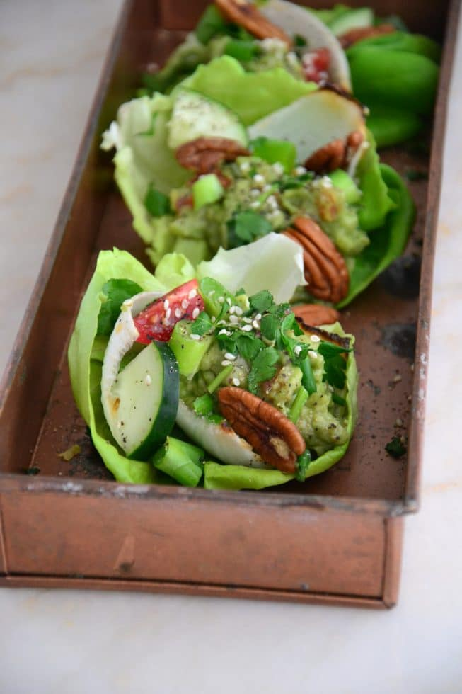 Easy Vegetarian Lettuce Wraps With Guacamole The Healthy Apple