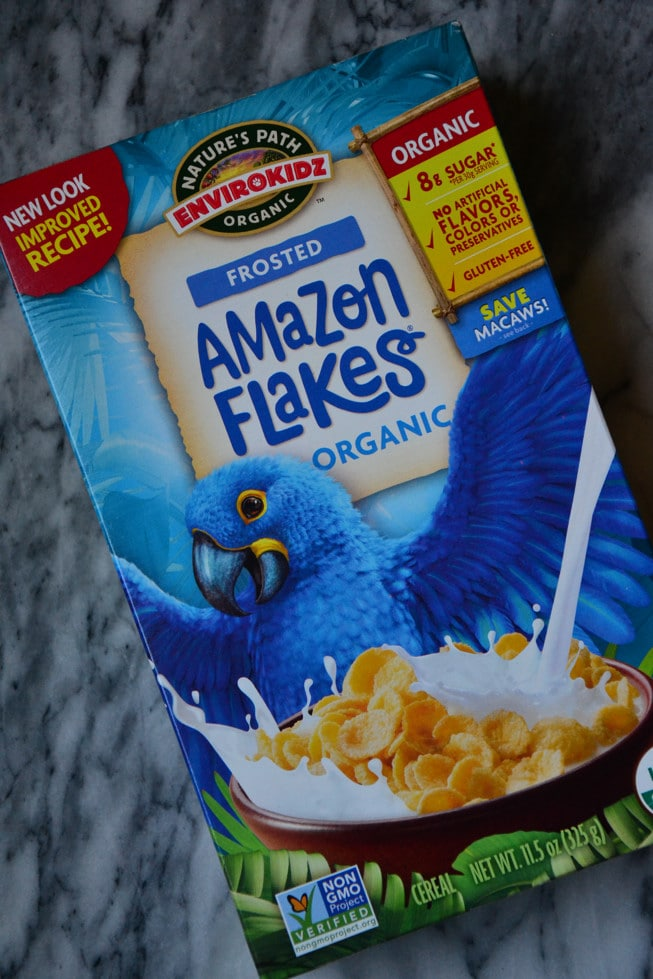 The Amazon Flakes cereal from Nature's Path is delicious and one of our favorite healthy breakfasts for kids.