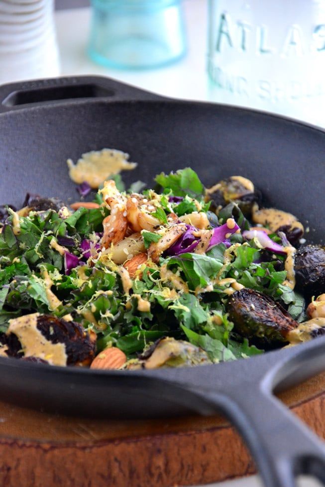 This Roasted Brussels Sprouts with Balsamic Glaze is loaded with tender veggies and garlic in a heavy cast iron skillet.