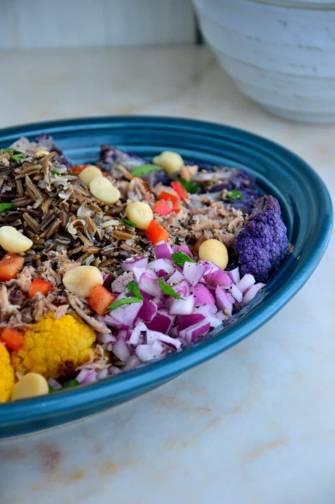 Roasted Cauliflower and Wild Rice Platter with Sardines and Fresh Herbs!