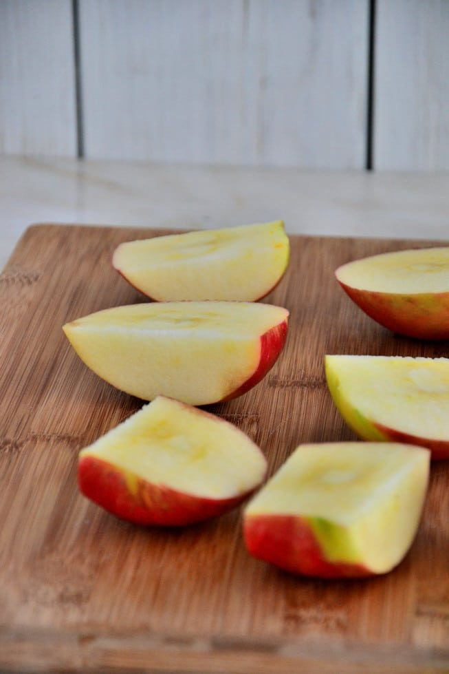 Sliced apples waiting to be roasted for the best butternut squash soup.