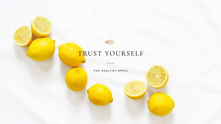 Desktop wallpaper with beautiful bright lemons and Trust Yourself written lovely.
