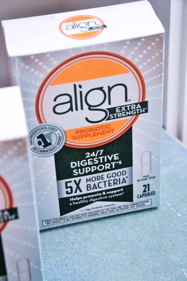 align probiotics new extra strength supplement in the box with 5x more good bacteria.