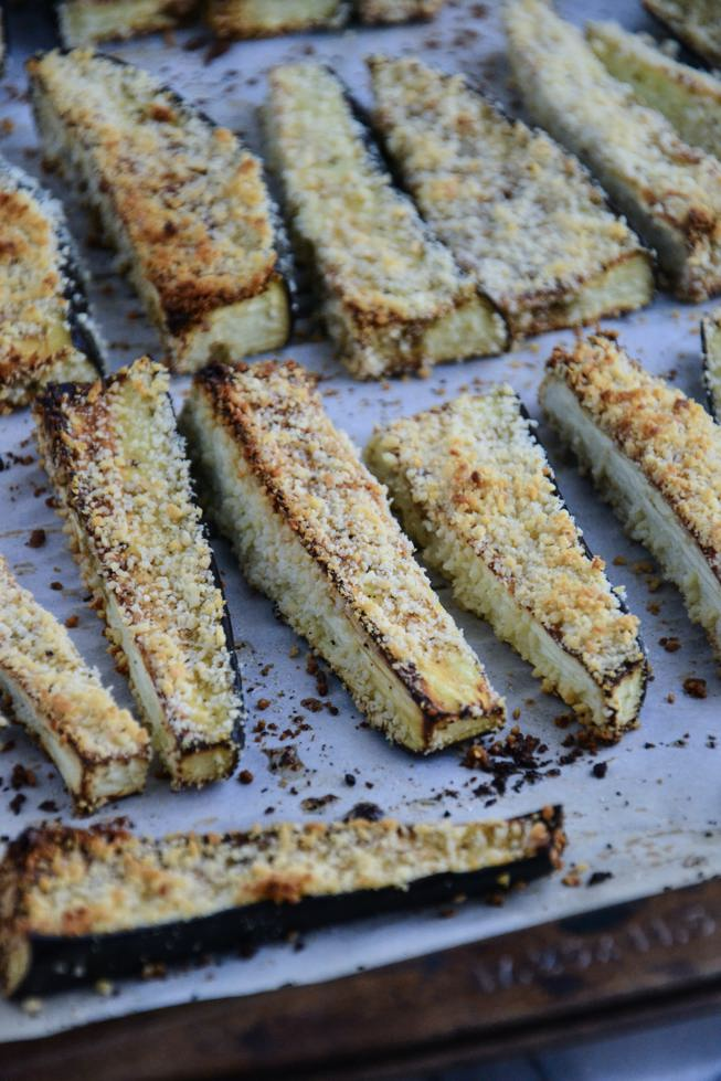 Roasted eggplant fries crispy right out of the oven.