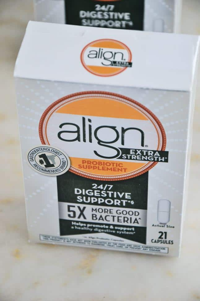 a box of align probiotics on a marble table.