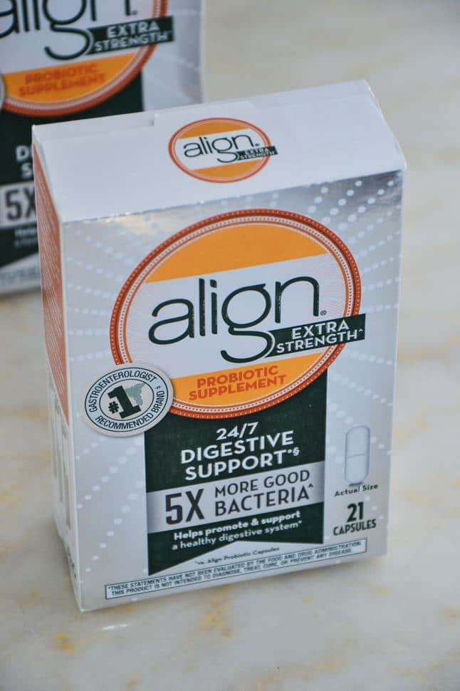 box of align probiotics on a marble table.