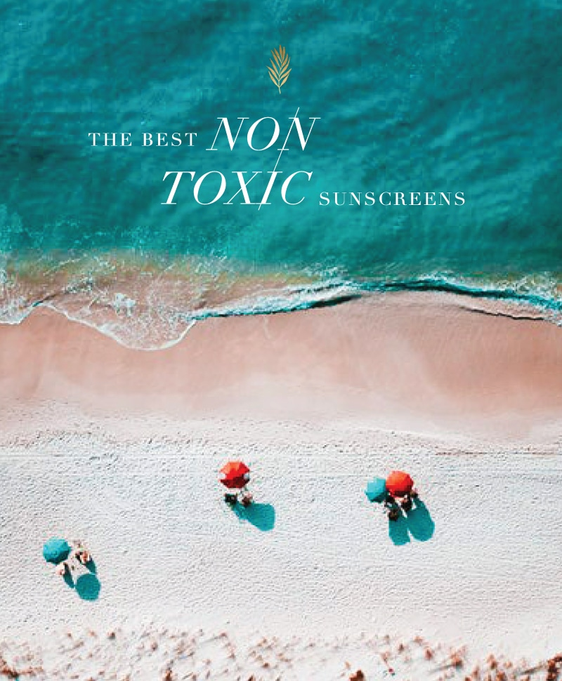 non-toxic sunscreen on a beach in the middle of summer with sand and blue water!