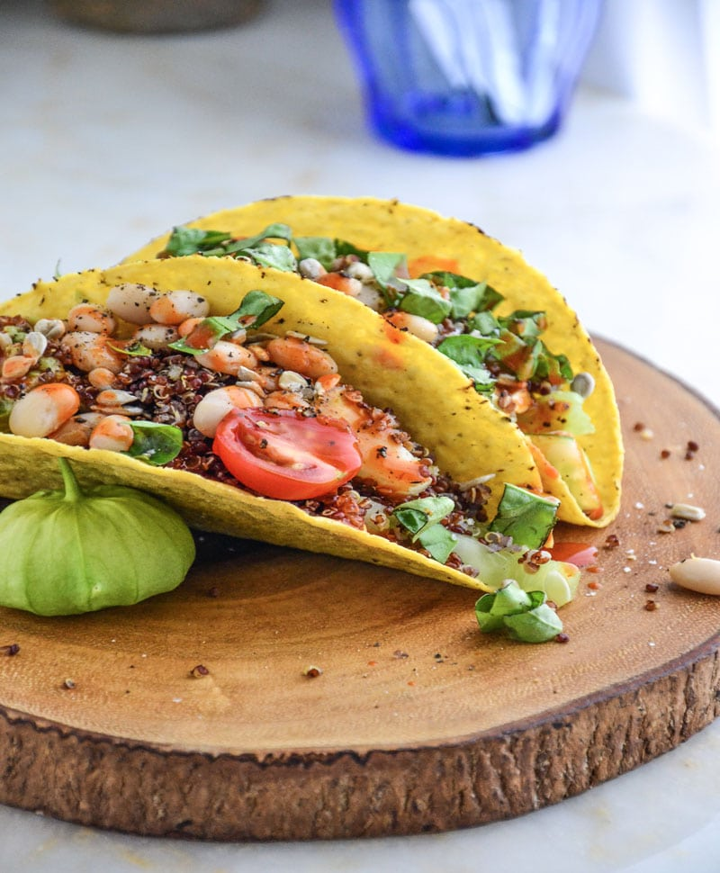 white bean tacos in hard shell