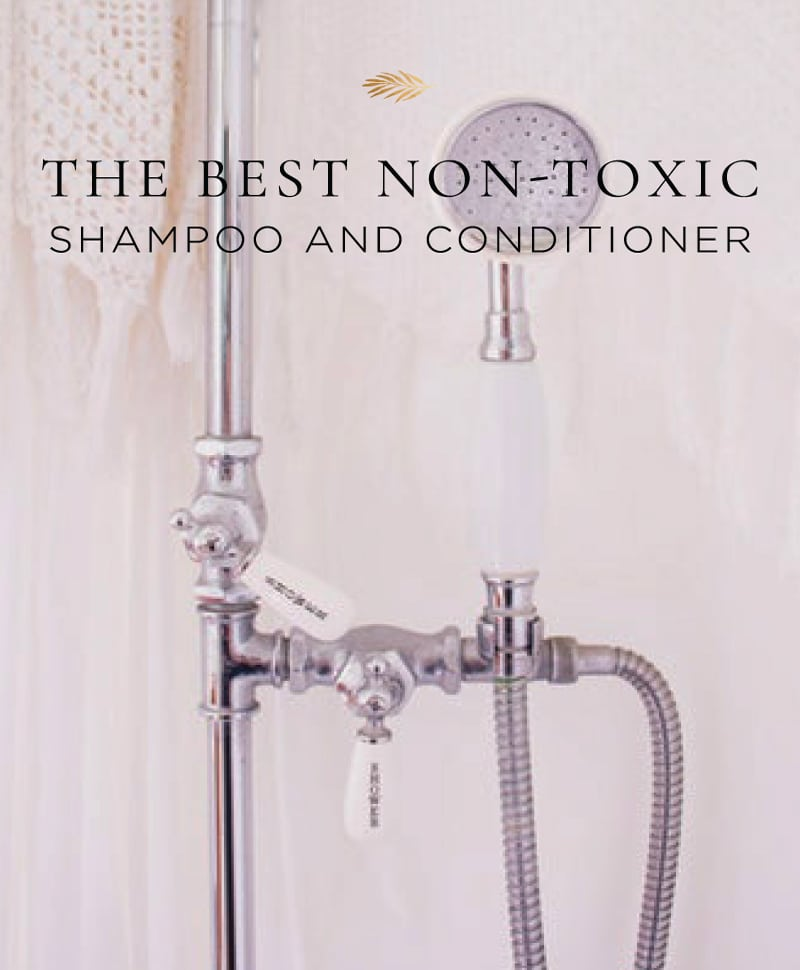non-toxic shampoo and conditioner in a marble shower.