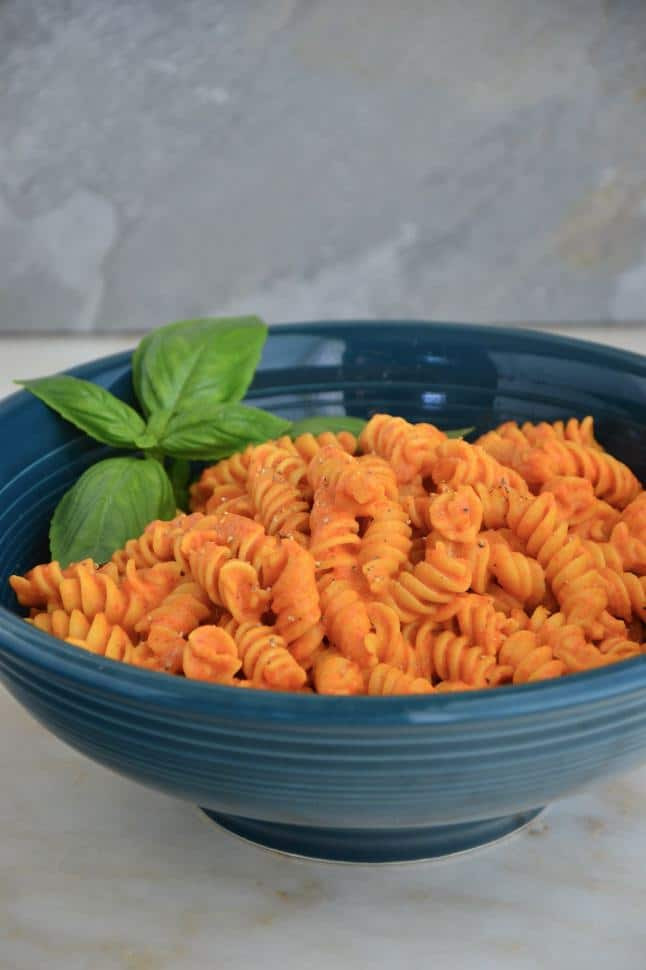 Gluten free rotini pasta coated in red sauce.