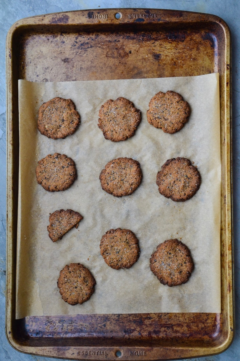 Gluten-free breakfast cookies on a baking sheet.